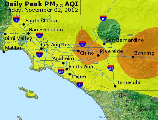 Peak Particles PM<sub>2.5</sub> (24-hour) - http://files.airnowtech.org/airnow/2012/20121102/peak_pm25_losangeles_ca.jpg