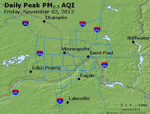 Peak Particles PM<sub>2.5</sub> (24-hour) - http://files.airnowtech.org/airnow/2012/20121102/peak_pm25_minneapolis_mn.jpg