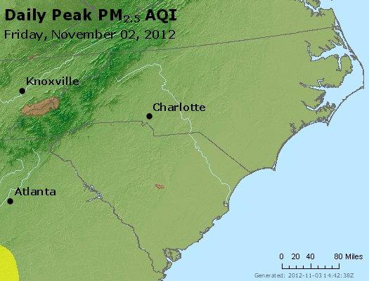 Peak Particles PM<sub>2.5</sub> (24-hour) - http://files.airnowtech.org/airnow/2012/20121102/peak_pm25_nc_sc.jpg