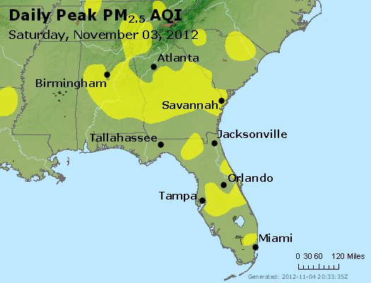 Peak Particles PM<sub>2.5</sub> (24-hour) - http://files.airnowtech.org/airnow/2012/20121103/peak_pm25_al_ga_fl.jpg