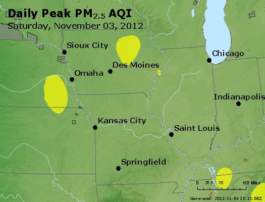 Peak Particles PM<sub>2.5</sub> (24-hour) - http://files.airnowtech.org/airnow/2012/20121103/peak_pm25_ia_il_mo.jpg
