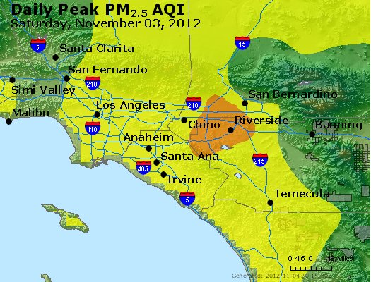 Peak Particles PM<sub>2.5</sub> (24-hour) - http://files.airnowtech.org/airnow/2012/20121103/peak_pm25_losangeles_ca.jpg