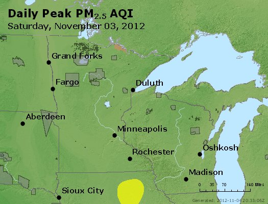 Peak Particles PM<sub>2.5</sub> (24-hour) - http://files.airnowtech.org/airnow/2012/20121103/peak_pm25_mn_wi.jpg