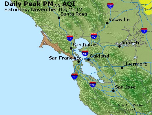 Peak Particles PM<sub>2.5</sub> (24-hour) - http://files.airnowtech.org/airnow/2012/20121103/peak_pm25_sanfrancisco_ca.jpg