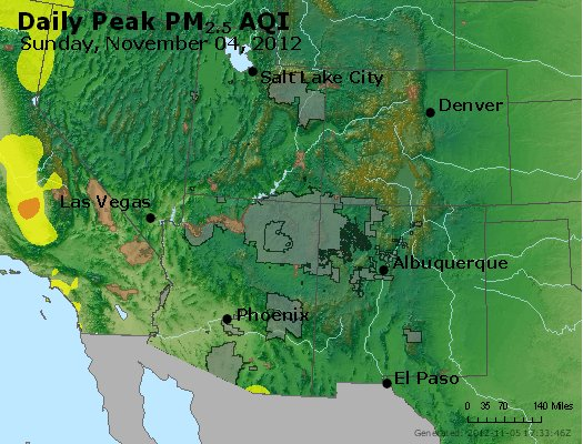 Peak Particles PM<sub>2.5</sub> (24-hour) - http://files.airnowtech.org/airnow/2012/20121104/peak_pm25_co_ut_az_nm.jpg