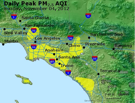 Peak Particles PM<sub>2.5</sub> (24-hour) - http://files.airnowtech.org/airnow/2012/20121104/peak_pm25_losangeles_ca.jpg