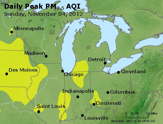 Peak Particles PM<sub>2.5</sub> (24-hour) - http://files.airnowtech.org/airnow/2012/20121105/peak_pm25_mi_in_oh.jpg