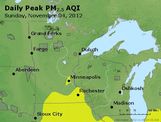 Peak Particles PM<sub>2.5</sub> (24-hour) - http://files.airnowtech.org/airnow/2012/20121105/peak_pm25_mn_wi.jpg
