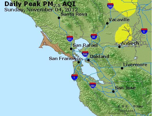 Peak Particles PM<sub>2.5</sub> (24-hour) - http://files.airnowtech.org/airnow/2012/20121105/peak_pm25_sanfrancisco_ca.jpg