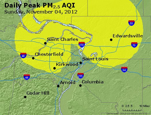 Peak Particles PM<sub>2.5</sub> (24-hour) - http://files.airnowtech.org/airnow/2012/20121105/peak_pm25_stlouis_mo.jpg