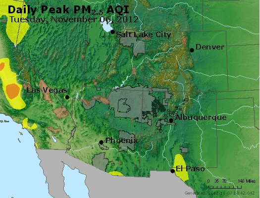 Peak Particles PM<sub>2.5</sub> (24-hour) - http://files.airnowtech.org/airnow/2012/20121106/peak_pm25_co_ut_az_nm.jpg