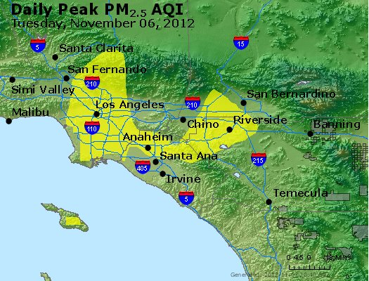 Peak Particles PM<sub>2.5</sub> (24-hour) - http://files.airnowtech.org/airnow/2012/20121106/peak_pm25_losangeles_ca.jpg
