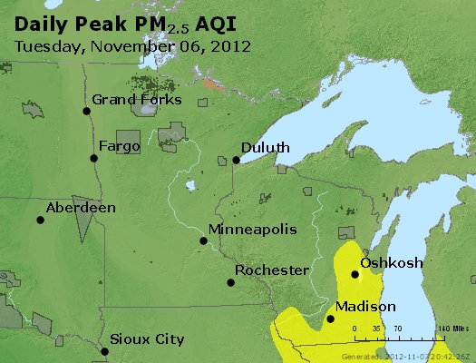 Peak Particles PM<sub>2.5</sub> (24-hour) - http://files.airnowtech.org/airnow/2012/20121106/peak_pm25_mn_wi.jpg