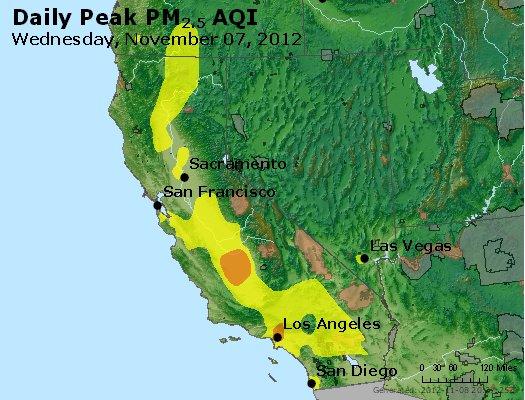 Peak Particles PM<sub>2.5</sub> (24-hour) - http://files.airnowtech.org/airnow/2012/20121107/peak_pm25_ca_nv.jpg