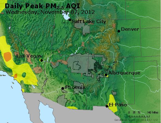 Peak Particles PM<sub>2.5</sub> (24-hour) - http://files.airnowtech.org/airnow/2012/20121107/peak_pm25_co_ut_az_nm.jpg