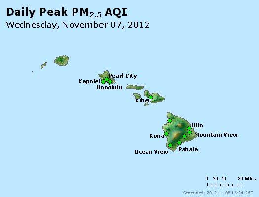 Peak Particles PM<sub>2.5</sub> (24-hour) - http://files.airnowtech.org/airnow/2012/20121107/peak_pm25_hawaii.jpg