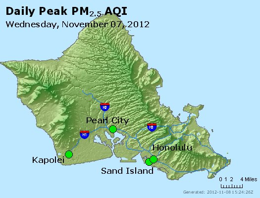Peak Particles PM<sub>2.5</sub> (24-hour) - http://files.airnowtech.org/airnow/2012/20121107/peak_pm25_honolulu_hi.jpg