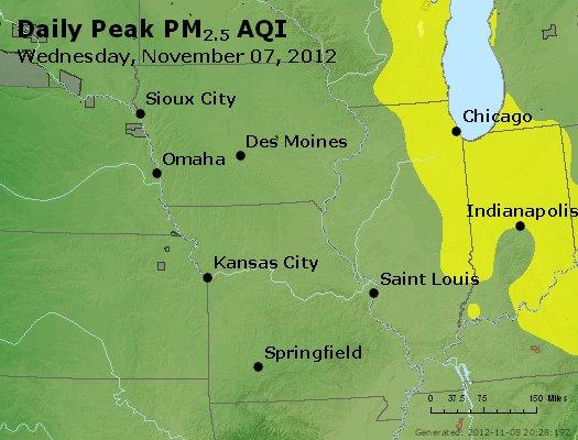 Peak Particles PM<sub>2.5</sub> (24-hour) - http://files.airnowtech.org/airnow/2012/20121107/peak_pm25_ia_il_mo.jpg