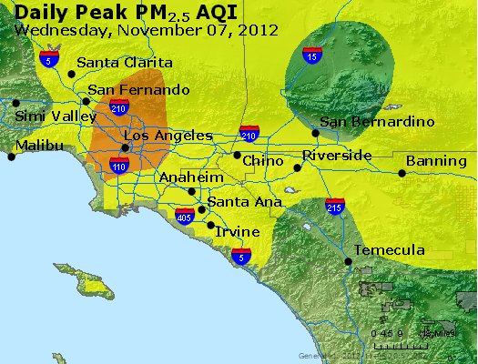 Peak Particles PM<sub>2.5</sub> (24-hour) - http://files.airnowtech.org/airnow/2012/20121107/peak_pm25_losangeles_ca.jpg