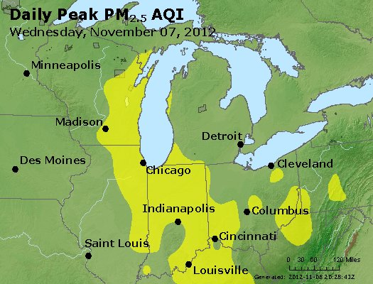 Peak Particles PM<sub>2.5</sub> (24-hour) - http://files.airnowtech.org/airnow/2012/20121107/peak_pm25_mi_in_oh.jpg
