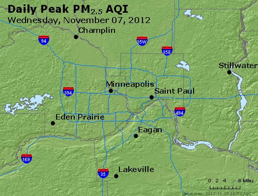 Peak Particles PM<sub>2.5</sub> (24-hour) - http://files.airnowtech.org/airnow/2012/20121107/peak_pm25_minneapolis_mn.jpg
