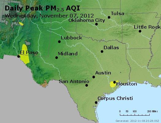 Peak Particles PM<sub>2.5</sub> (24-hour) - http://files.airnowtech.org/airnow/2012/20121107/peak_pm25_tx_ok.jpg