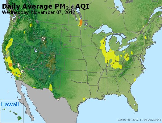 Peak Particles PM<sub>2.5</sub> (24-hour) - http://files.airnowtech.org/airnow/2012/20121107/peak_pm25_usa.jpg