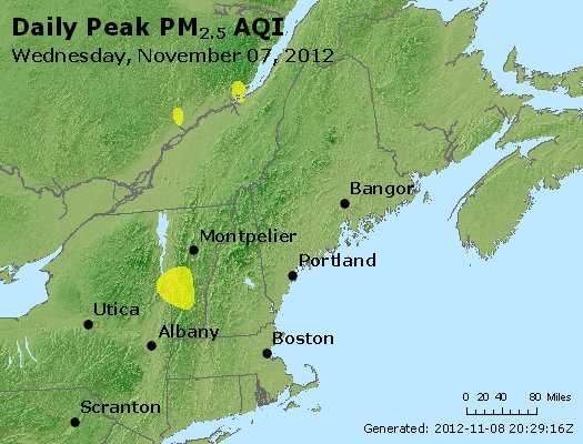 Peak Particles PM<sub>2.5</sub> (24-hour) - http://files.airnowtech.org/airnow/2012/20121107/peak_pm25_vt_nh_ma_ct_ri_me.jpg