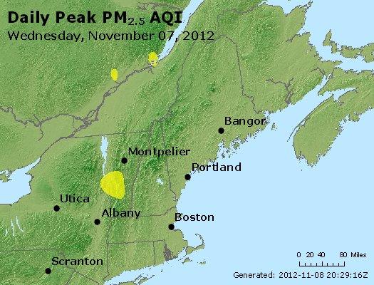 Peak Particles PM<sub>2.5</sub> (24-hour) - http://files.airnowtech.org/airnow/2012/20121107/peak_pm25_vt_nh_ma_ct_ri_me.jpg