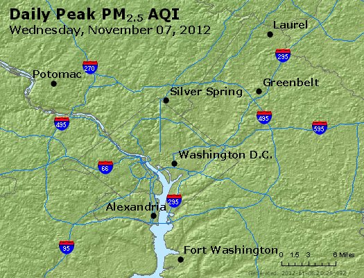 Peak Particles PM<sub>2.5</sub> (24-hour) - http://files.airnowtech.org/airnow/2012/20121107/peak_pm25_washington_dc.jpg