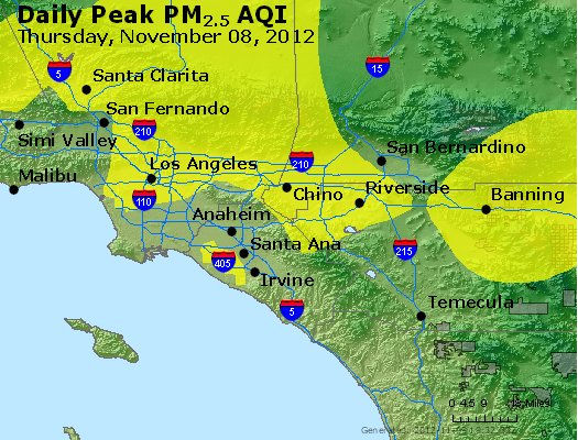 Peak Particles PM<sub>2.5</sub> (24-hour) - http://files.airnowtech.org/airnow/2012/20121108/peak_pm25_losangeles_ca.jpg