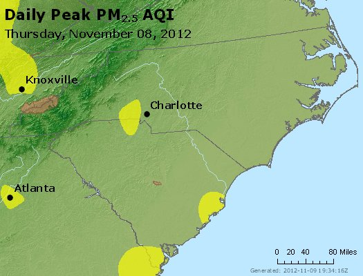 Peak Particles PM<sub>2.5</sub> (24-hour) - http://files.airnowtech.org/airnow/2012/20121108/peak_pm25_nc_sc.jpg