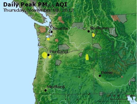 Peak Particles PM<sub>2.5</sub> (24-hour) - http://files.airnowtech.org/airnow/2012/20121108/peak_pm25_wa_or.jpg