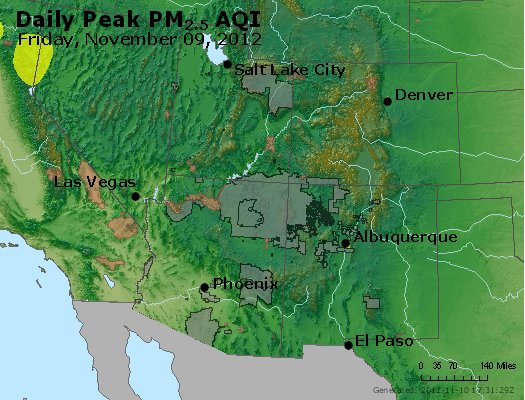 Peak Particles PM<sub>2.5</sub> (24-hour) - http://files.airnowtech.org/airnow/2012/20121109/peak_pm25_co_ut_az_nm.jpg