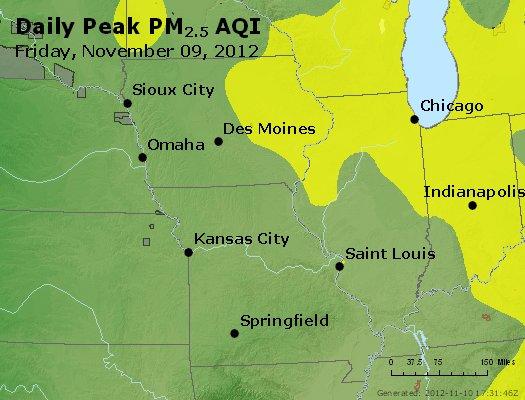 Peak Particles PM<sub>2.5</sub> (24-hour) - http://files.airnowtech.org/airnow/2012/20121109/peak_pm25_ia_il_mo.jpg