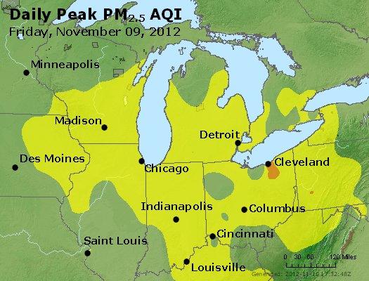 Peak Particles PM<sub>2.5</sub> (24-hour) - http://files.airnowtech.org/airnow/2012/20121109/peak_pm25_mi_in_oh.jpg