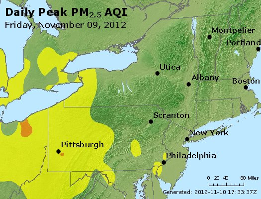Peak Particles PM<sub>2.5</sub> (24-hour) - http://files.airnowtech.org/airnow/2012/20121109/peak_pm25_ny_pa_nj.jpg