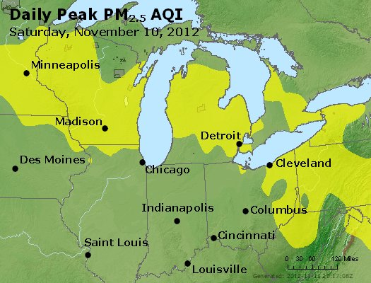 Peak Particles PM<sub>2.5</sub> (24-hour) - http://files.airnowtech.org/airnow/2012/20121110/peak_pm25_mi_in_oh.jpg