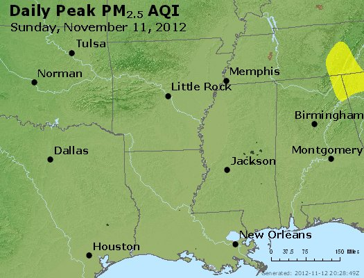 Peak Particles PM<sub>2.5</sub> (24-hour) - http://files.airnowtech.org/airnow/2012/20121111/peak_pm25_ar_la_ms.jpg