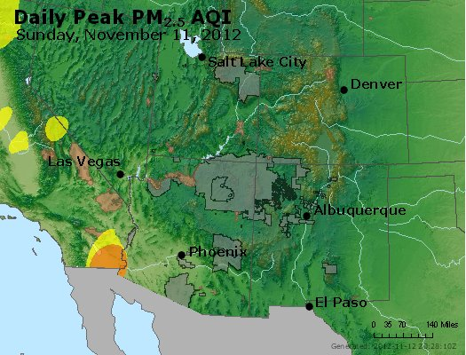 Peak Particles PM<sub>2.5</sub> (24-hour) - http://files.airnowtech.org/airnow/2012/20121111/peak_pm25_co_ut_az_nm.jpg