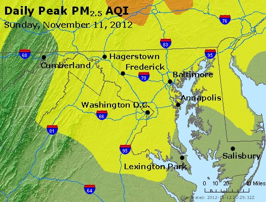Peak Particles PM<sub>2.5</sub> (24-hour) - http://files.airnowtech.org/airnow/2012/20121111/peak_pm25_maryland.jpg