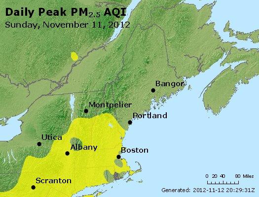 Peak Particles PM<sub>2.5</sub> (24-hour) - http://files.airnowtech.org/airnow/2012/20121111/peak_pm25_vt_nh_ma_ct_ri_me.jpg