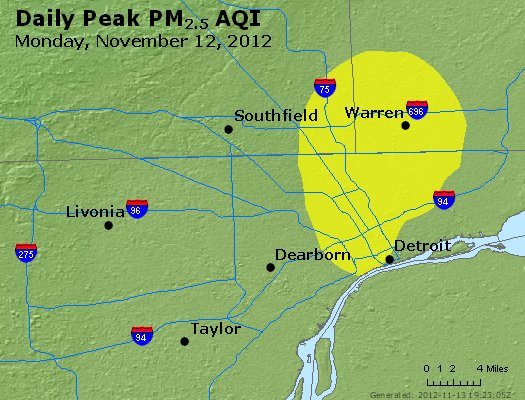 Peak Particles PM<sub>2.5</sub> (24-hour) - http://files.airnowtech.org/airnow/2012/20121112/peak_pm25_detroit_mi.jpg