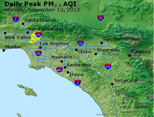 Peak Particles PM<sub>2.5</sub> (24-hour) - http://files.airnowtech.org/airnow/2012/20121112/peak_pm25_losangeles_ca.jpg