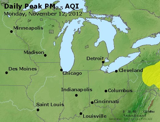Peak Particles PM<sub>2.5</sub> (24-hour) - http://files.airnowtech.org/airnow/2012/20121112/peak_pm25_mi_in_oh.jpg