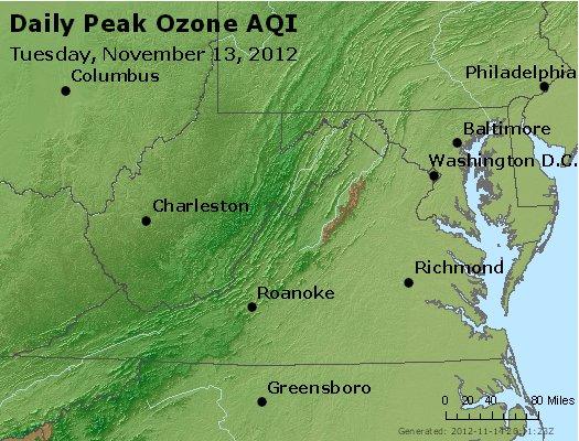 Peak Ozone (8-hour) - http://files.airnowtech.org/airnow/2012/20121113/peak_o3_va_wv_md_de_dc.jpg