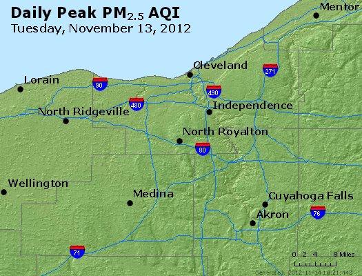 Peak Particles PM<sub>2.5</sub> (24-hour) - http://files.airnowtech.org/airnow/2012/20121113/peak_pm25_cleveland_oh.jpg