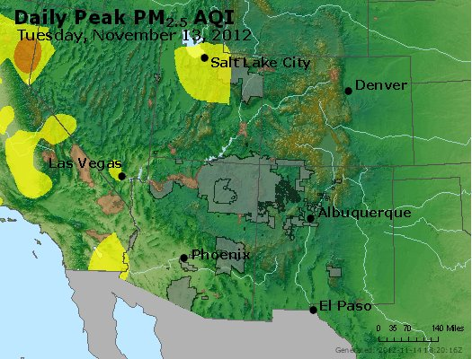 Peak Particles PM<sub>2.5</sub> (24-hour) - http://files.airnowtech.org/airnow/2012/20121113/peak_pm25_co_ut_az_nm.jpg