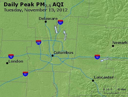 Peak Particles PM<sub>2.5</sub> (24-hour) - http://files.airnowtech.org/airnow/2012/20121113/peak_pm25_columbus_oh.jpg