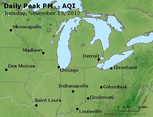 Peak Particles PM<sub>2.5</sub> (24-hour) - http://files.airnowtech.org/airnow/2012/20121113/peak_pm25_mi_in_oh.jpg